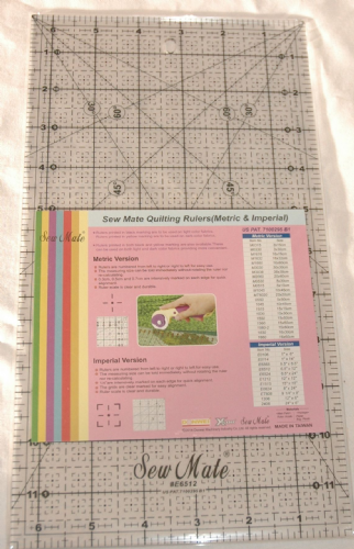 "Sew Mate Quilting Patchwork Ruler 6 1/2"" x 12"" BLB631"